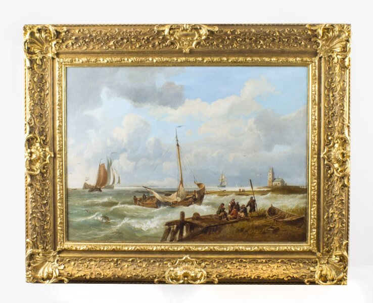 Antique Dutch Oil on Canvas Painting of a Coastal Scene Circa 1850 | Ref. no. 08563 | Regent Antiques