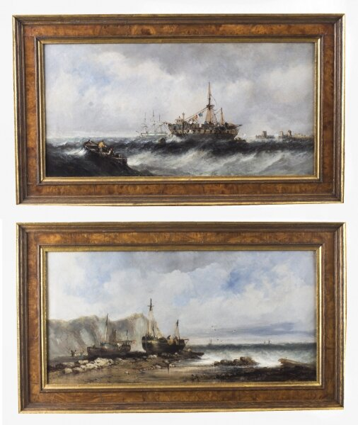 Antique Pair Seascape Oil Paintings Fishing Boats 19th century | Ref. no. 08564 | Regent Antiques