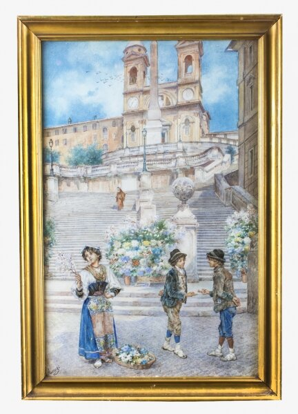"Antique Watercolour  Ettore Ascenzi "" The Spanish Steps"" 19th C 
