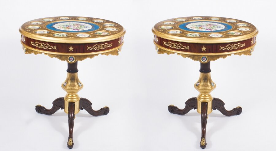 Pair of French Ormolu & Sevres Style Porcelain Occasional Side Tables  20th C | Ref. no. 08601 | Regent Antiques
