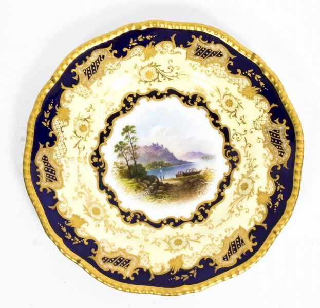 Antique Coalport Porcelain Plate Lake Menteith  1891 Kilchurn Castle | Ref. no. 08603 | Regent Antiques