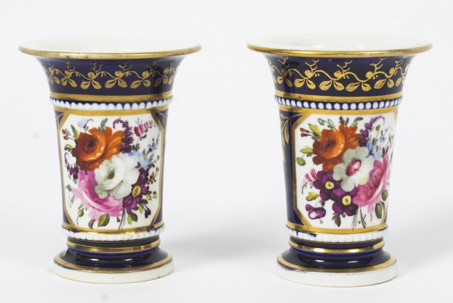 Antique Pair Royal Blue Regency English Spill vases early 19th C | Ref. no. 08620 | Regent Antiques