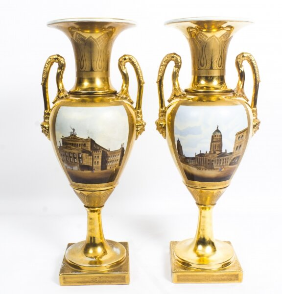 Antique Pair Continental Porcelain Double Handled Gilt Vases late19th C | Ref. no. 08644 | Regent Antiques