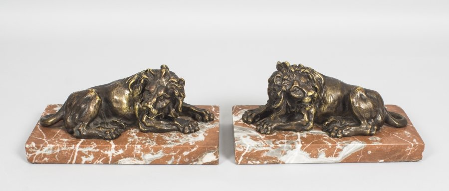 Antique Pair Grand Tour Bronze Lions on Marble Bases 19th C | Ref. no. 08709 | Regent Antiques