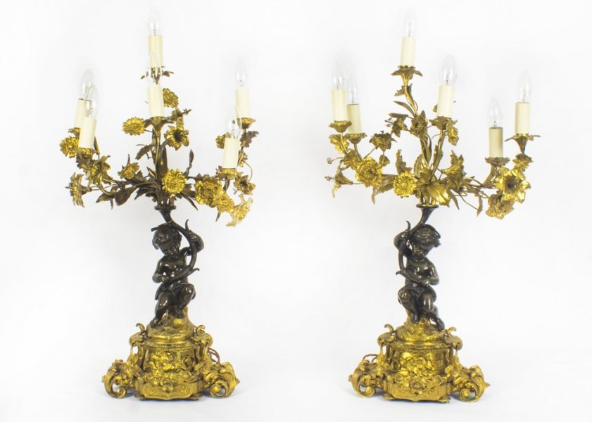Antique Pair French Ormolu & Patinated Bronze Table Lamps C1850 | Ref. no. 08718 | Regent Antiques