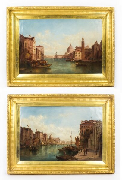 Antique Pair Oil Paintings Grand Canal Venice Alfred Pollentine  19th C | Ref. no. 08757 | Regent Antiques