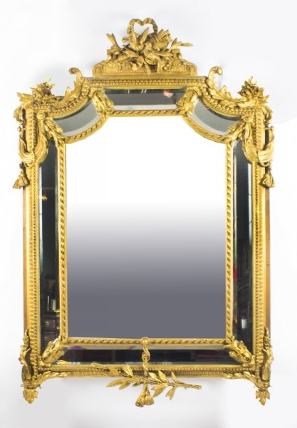 Antique Giltwood Louis Revival Overmantel Cushion Mirror c 1870 104 x 151 cm | Ref. no. 08791 | Regent Antiques