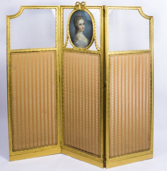 Antique French  Giltwood Dressing Screen With Pastel Portrait  19th C | Ref. no. 08820 | Regent Antiques