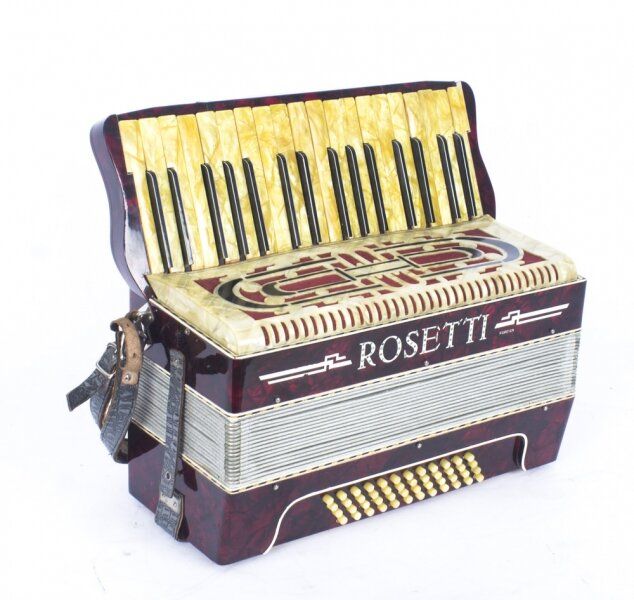Vintage Rossetti red pearl finish accordion, 42cm wide | Ref. no. 08824 | Regent Antiques