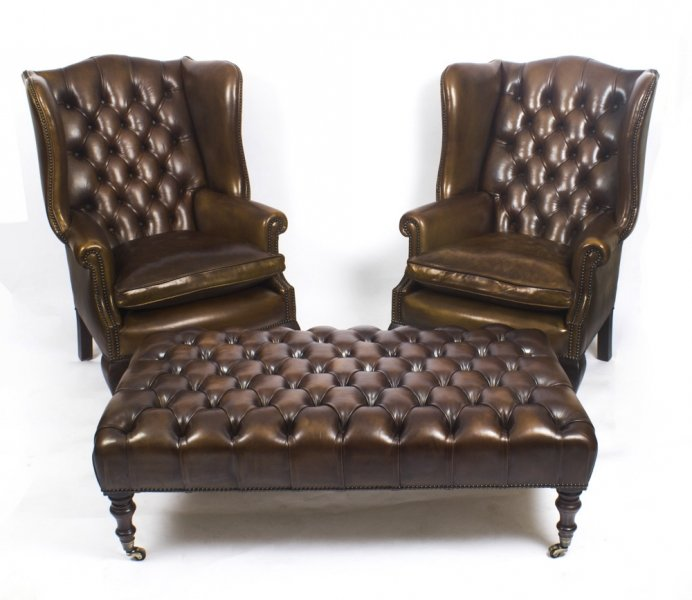 Bespoke Pair Leather Chippendale Wing Back Armchairs with stool / coffee table | Ref. no. 08847a | Regent Antiques