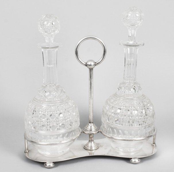 antique silver plated tantalus stand | cut crystal decanters | Ref. no. 08869 | Regent Antiques