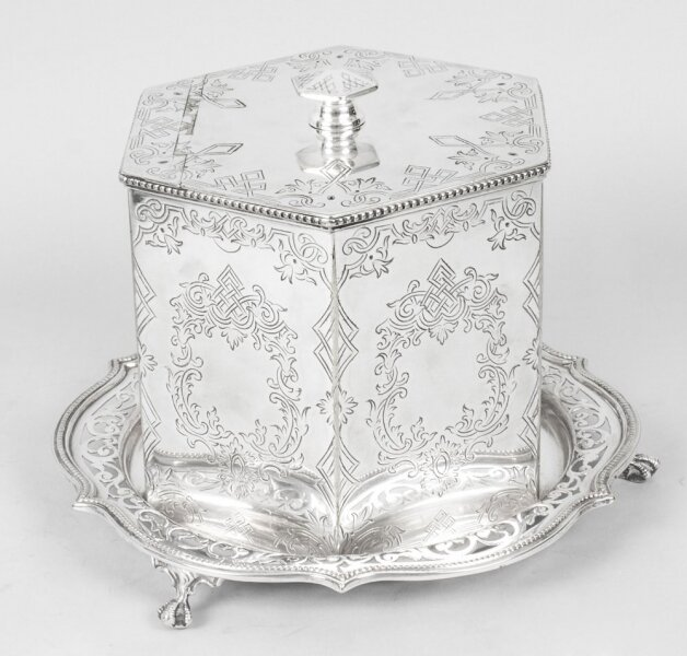 Antique Victorian silver plated biscuit box | Ref. no. 08887 | Regent Antiques