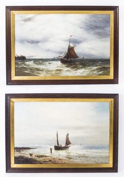 Antique Pair Oil on Canvas Seascape Paintings Gustave De Bréanski   19th Century | Ref. no. 08895 | Regent Antiques