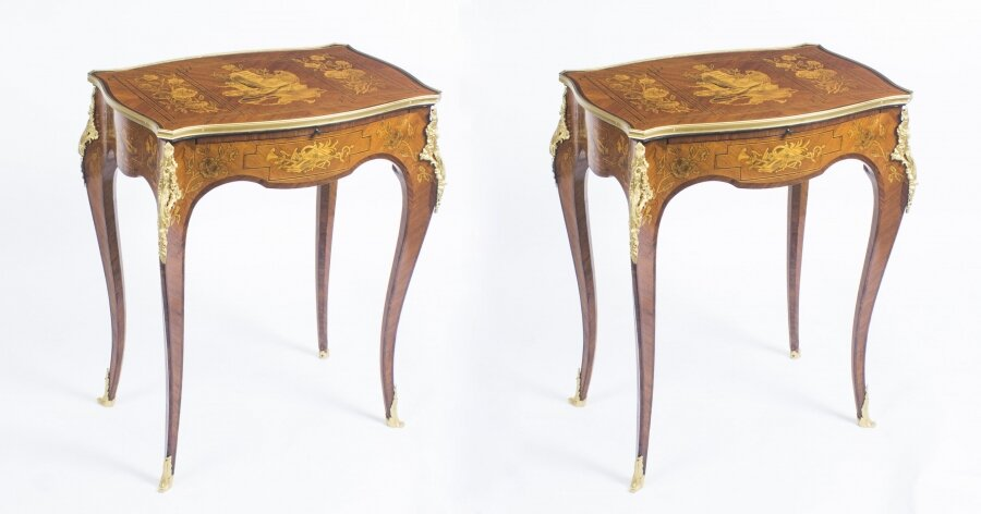 Antique Pair Parquetry  & Ormolu Mounted Occasional  Tables C 1900 | Ref. no. 08907 | Regent Antiques