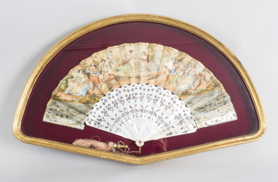 Antique French Hand Painted  Mother Pearl Fan 19th C | Ref. no. 08915 | Regent Antiques