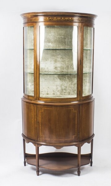 Antique Edwardian Half Moon Glazed Inlaid Mahogany Display Cabinet C1900 | Ref. no. 08935 | Regent Antiques