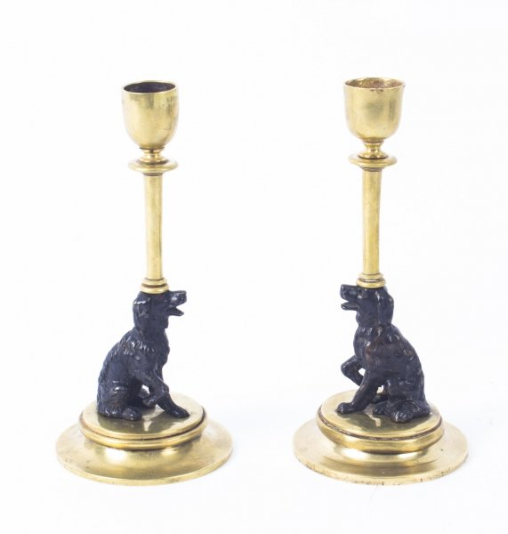 Antique Pair french Novelty Bronze Spaniel Candlesticks 19th C | Ref. no. 08941 | Regent Antiques
