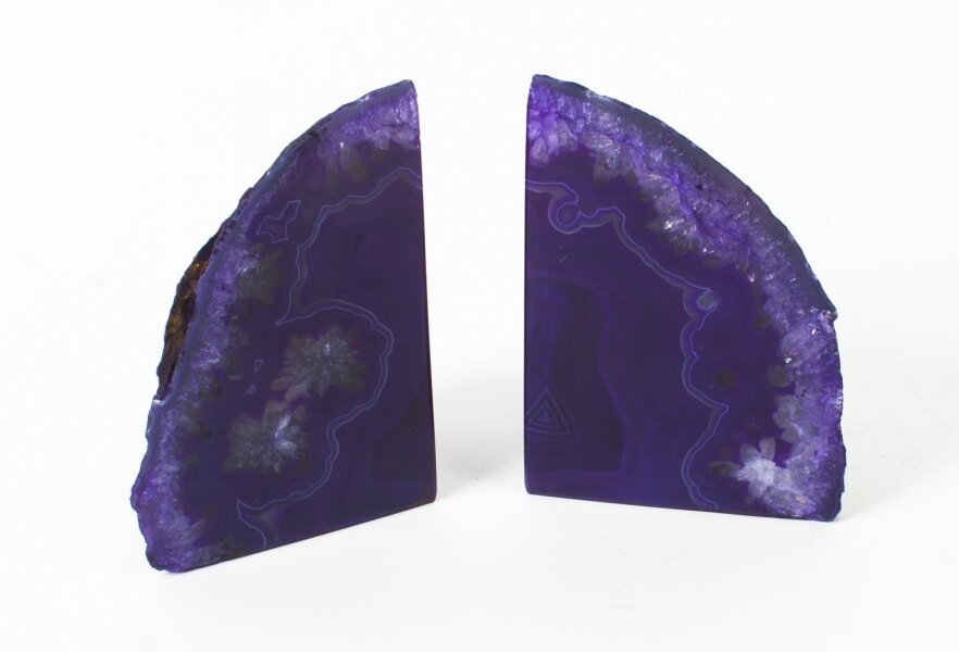 Striking Pair Brazilian Agate Bisected Book Ends Stands | Ref. no. 08946 | Regent Antiques