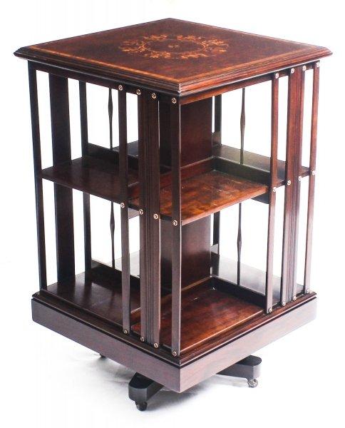 Antique Furniture Antique Mahogany Inlaid Revolving Bookcase