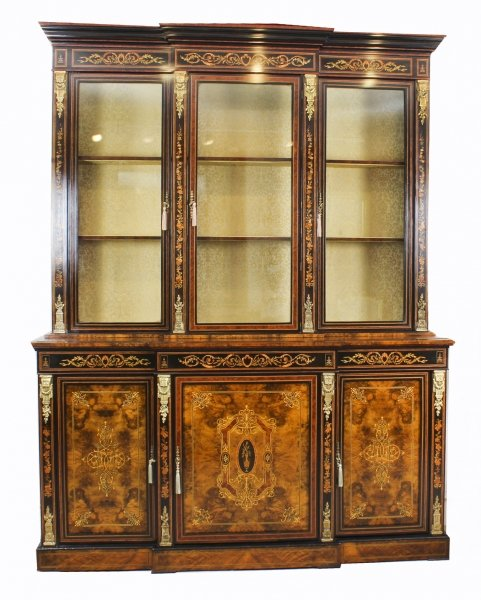 Antique Victorian Burr Walnut Marquetry Bookcase Display Cabinet 19th Century | Ref. no. 08963 | Regent Antiques