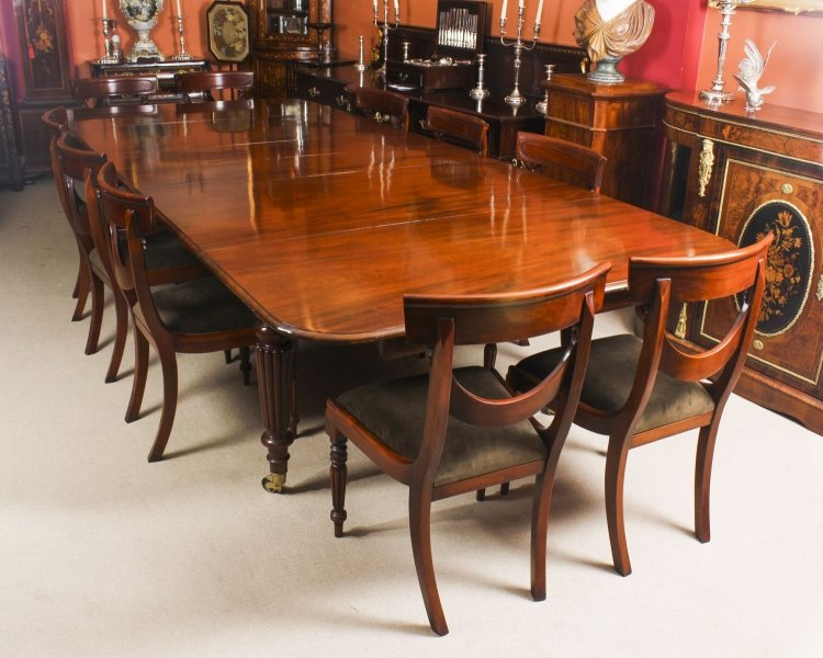 Antique 11 ft Flame Mahogany Extending Dining Table C1840 & 10 chairs | Ref. no. 08988a | Regent Antiques