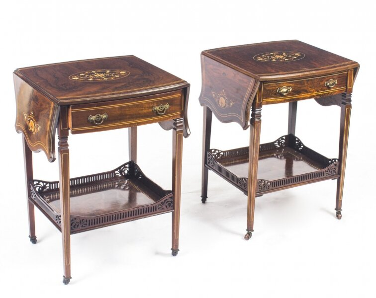 Antique Pair English Marquetry Inlaid Occasional Bedside Tables  19th C | Ref. no. 09022 | Regent Antiques