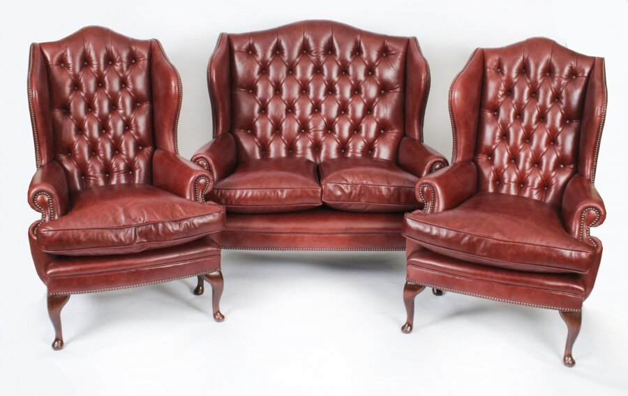 Bespoke English Leather Queen Anne  Sofa & Pair Armchairs Chestnut | Ref. no. 09048c | Regent Antiques