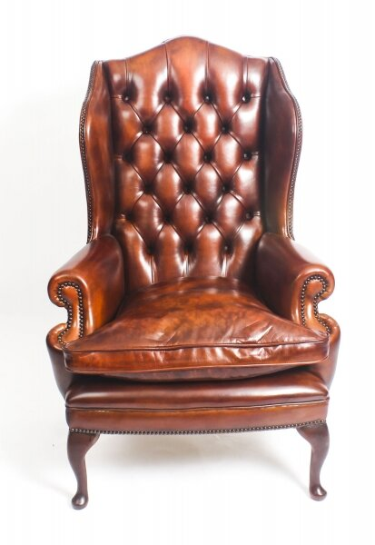 Bespoke Leather Queen Anne Wing Back Armchair Chestnut | Ref. no. 09048e | Regent Antiques