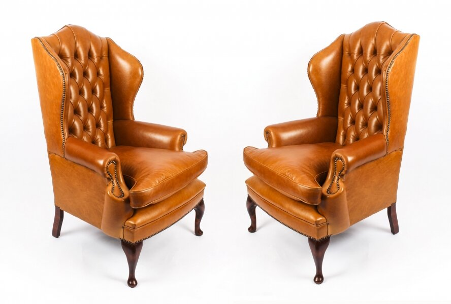 Bespoke Pair Leather Queen Anne Wingback Armchairs Bruciato | Ref. no. 09048f | Regent Antiques