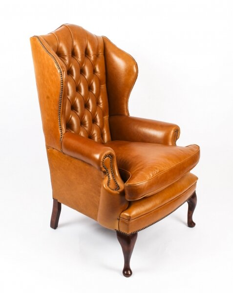 Bespoke Leather Queen Anne Wingback Armchair Bruciato | Ref. no. 09048g | Regent Antiques