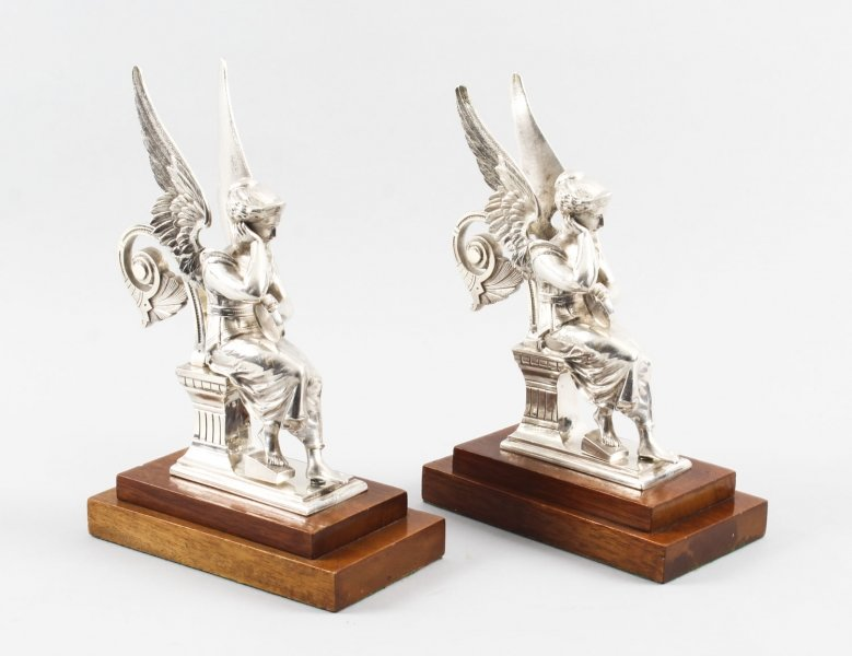 Antique pair of silvered bronze seated angels 19th Century | Ref. no. 09060 | Regent Antiques
