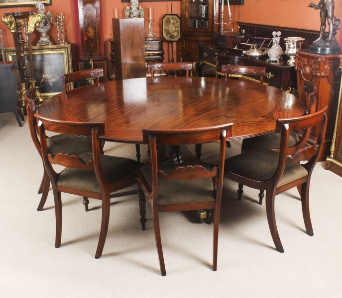 Vintage 194cm Diam Mahogany Jupe Dining Table, Leaf Cabinet & 8 Chairs | Ref. no. 09061c | Regent Antiques