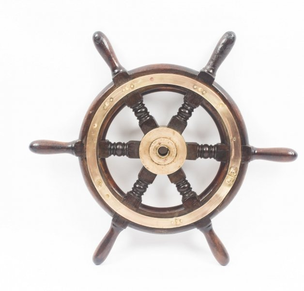 Antique Brass Set Six Spoke  51 cm Elm Ships Wheel, 19th Century | Ref. no. 09063 | Regent Antiques