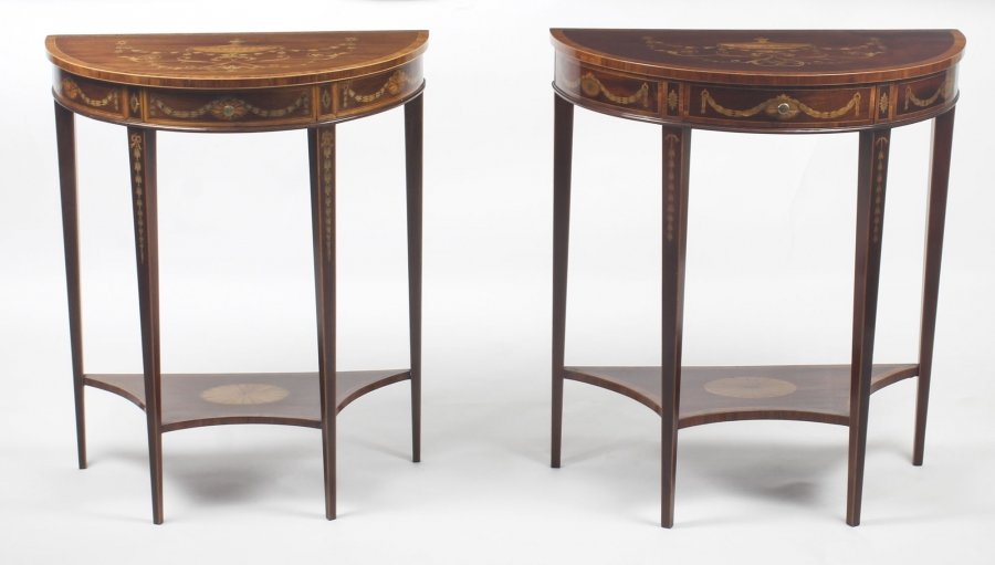 Antique Near Pair Demilune Mahogany & Marquetry Console Tables  19th C | Ref. no. 09083 | Regent Antiques