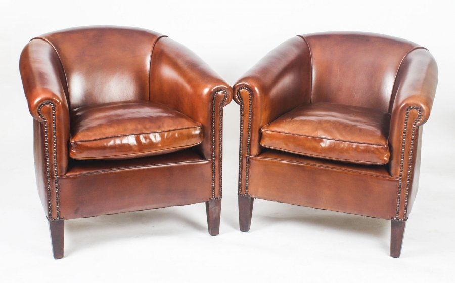Bespoke Pair English Handmade Amsterdam Leather Arm Chairs BBA | Ref. no. 09085 BBA | Regent Antiques