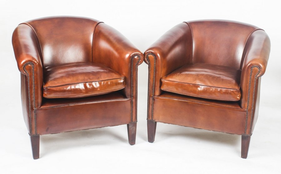 Bespoke Pair English Handmade Amsterdam Leather Arm Chairs Bruciato | Ref. no. 09085 Bruc | Regent Antiques