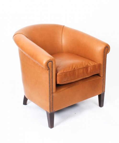 Bespoke English Handmade Amsterdam  Leather Arm Chair Tan | Ref. no. 09085a Tan | Regent Antiques