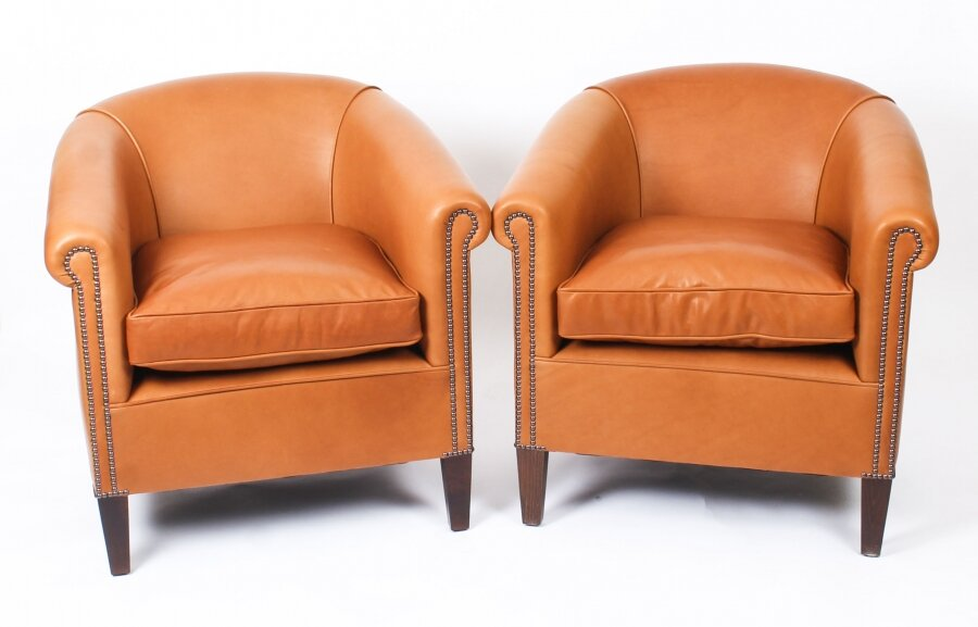 Bespoke Pair English Handmade Amsterdam Leather Arm Chairs Tan | Ref. no. 09085b | Regent Antiques