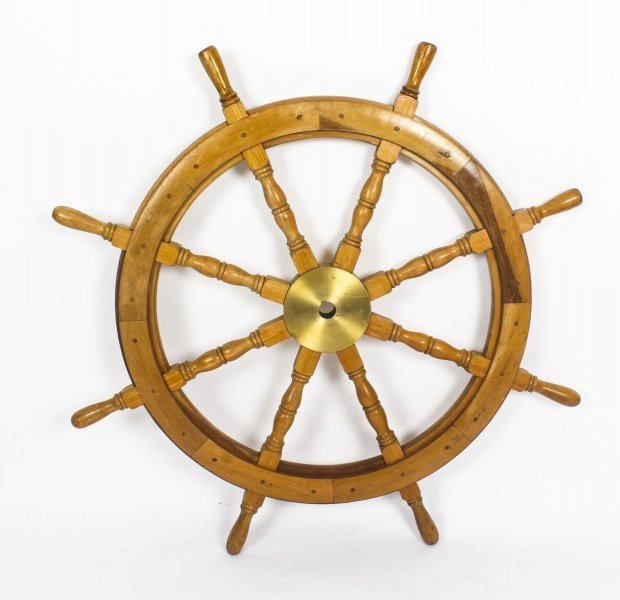 Antique Large Brass Set Eight Spoke  Mahogany Ships Wheel, 19th Century | Ref. no. 09111 | Regent Antiques