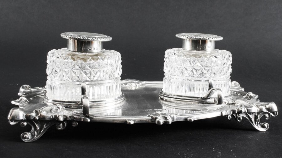 Antique English Silver Inkstand Cut glass Wells J Dixon  1899  19th Century | Ref. no. 09130 | Regent Antiques