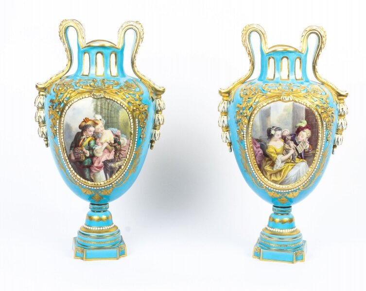 Antique Pair of French Sevres Porcelain Bleu Celeste Vases 18th Century | Ref. no. 09135 | Regent Antiques