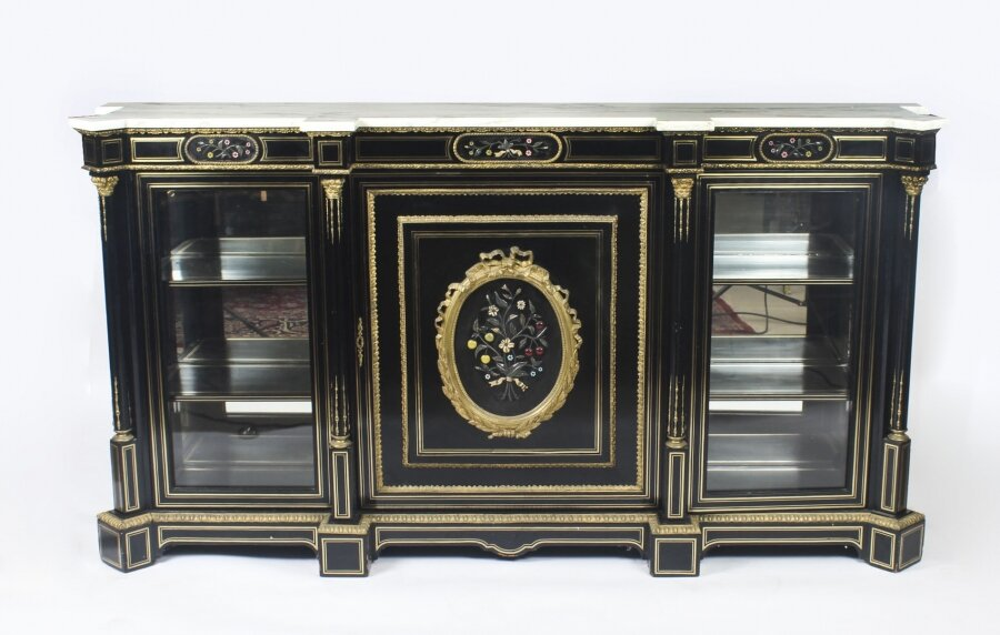 Antique Napoleon III Pietra Dura Ebonised Credenza c.1840 | Ref. no. 09136 | Regent Antiques