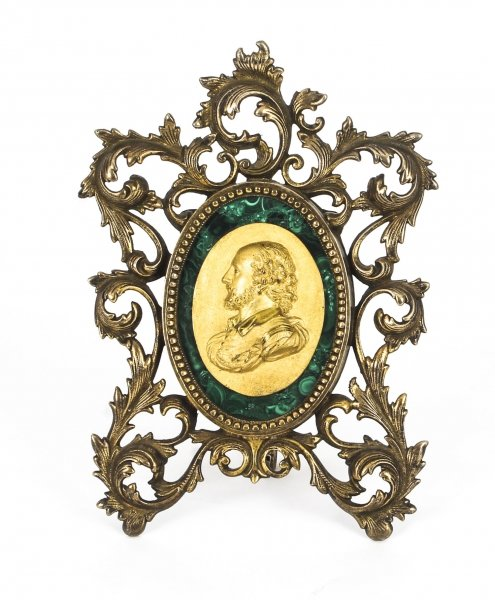 Antique French Framed Ormolu & Malachite  Portrait Plaque Francis Drake 19thC | Ref. no. 09138 | Regent Antiques