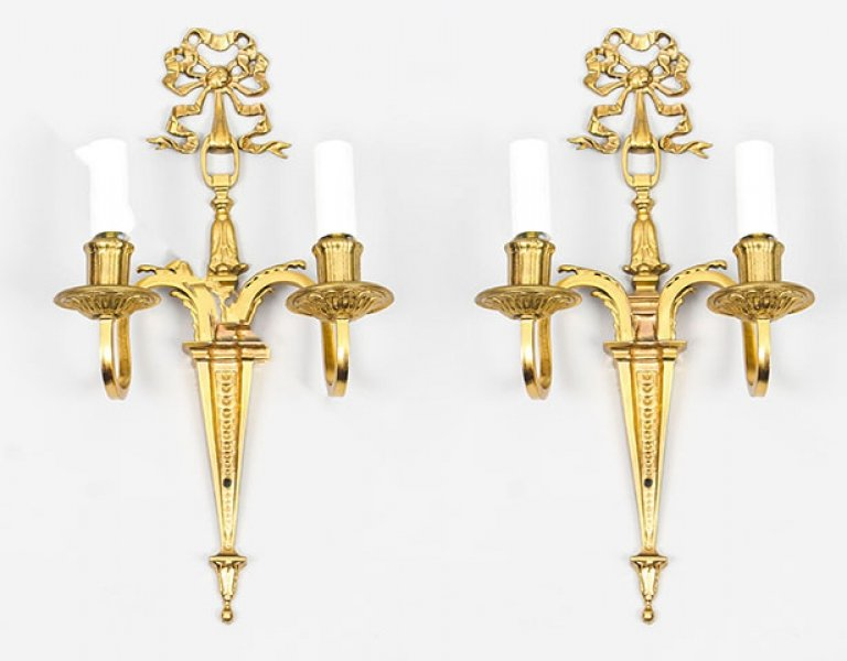 Antique  Pair Louis XVI Style Twin Branch Wall Lights  19th C | Ref. no. 09153a | Regent Antiques