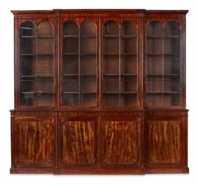 Antique Regency Flame Mahogany Four Door Breakfront Bookcase 19th C | Ref. no. 09165 | Regent Antiques