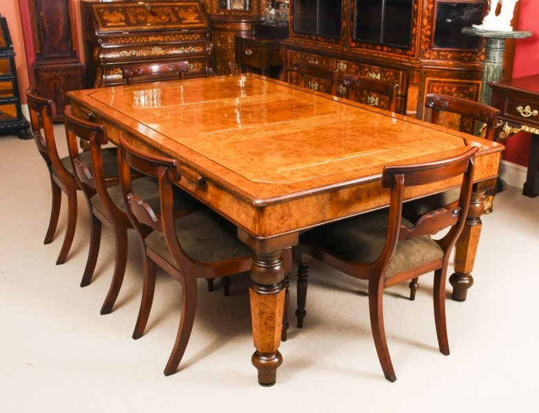 Antique Victorian Pollard Oak Snooker / Dining Table  & 8 Chairs 19th C | Ref. no. 09173a | Regent Antiques