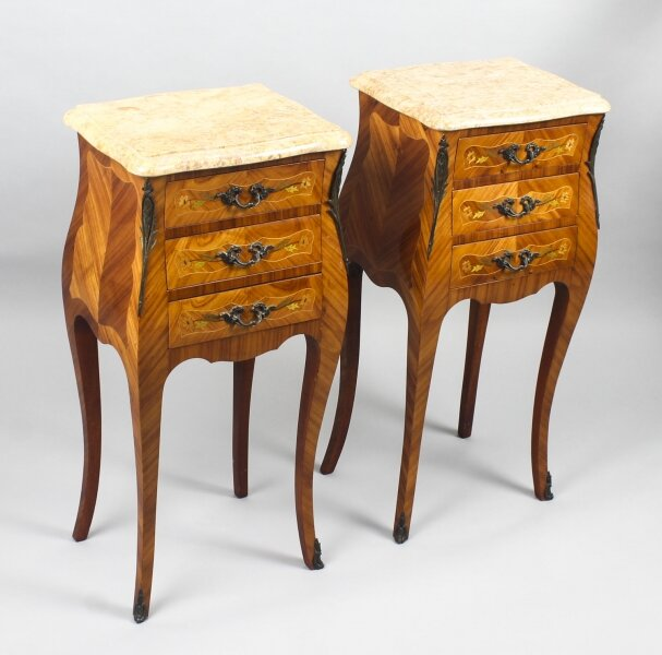 Antique Pair French Kingwood Bombe Bedside Chests 19th C | Ref. no. 09176 | Regent Antiques
