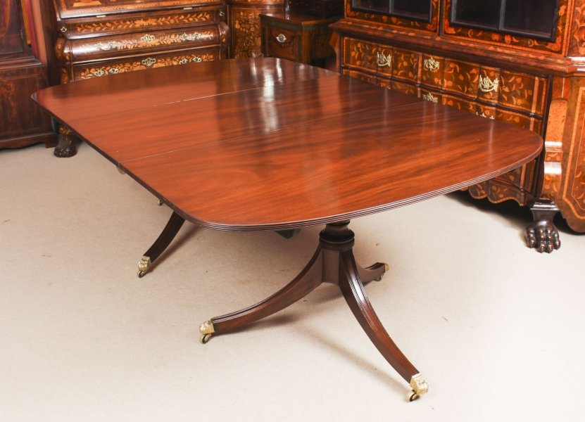 Antique 7ft George III Regency Flame Mahogany Twin Pillar Dining Table  19th C | Ref. no. 09211 | Regent Antiques