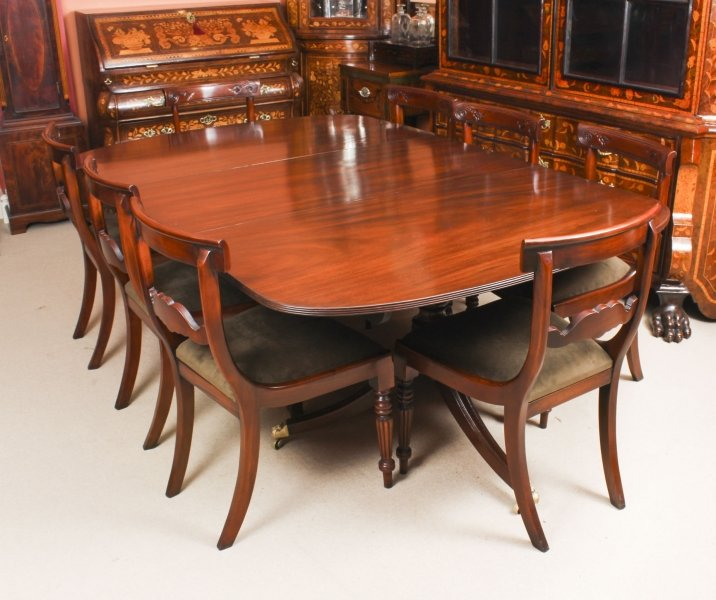 Antique George III Regency  Dining Table 19th C with 8 Bespoke Dining Chairs | Ref. no. 09211a | Regent Antiques