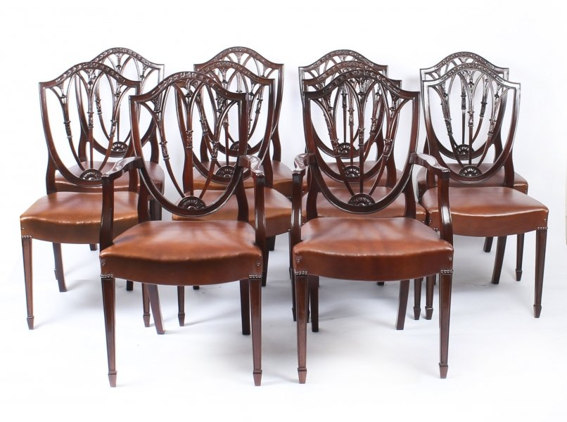 Antique Set 10 English Hepplewhite Shield Back Dining Chairs 19th C | Ref. no.  sc 1 st  Regent Antiques & Antique Set 10 English | Ref. no. 09212 | Regent Antiques